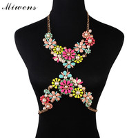 Miwens Hot Sale Exclusive Handmade Acrylic Flower Pendant Statement Bodys Chain Fashion Summer Women Maxi Necklace Jewelry 6528