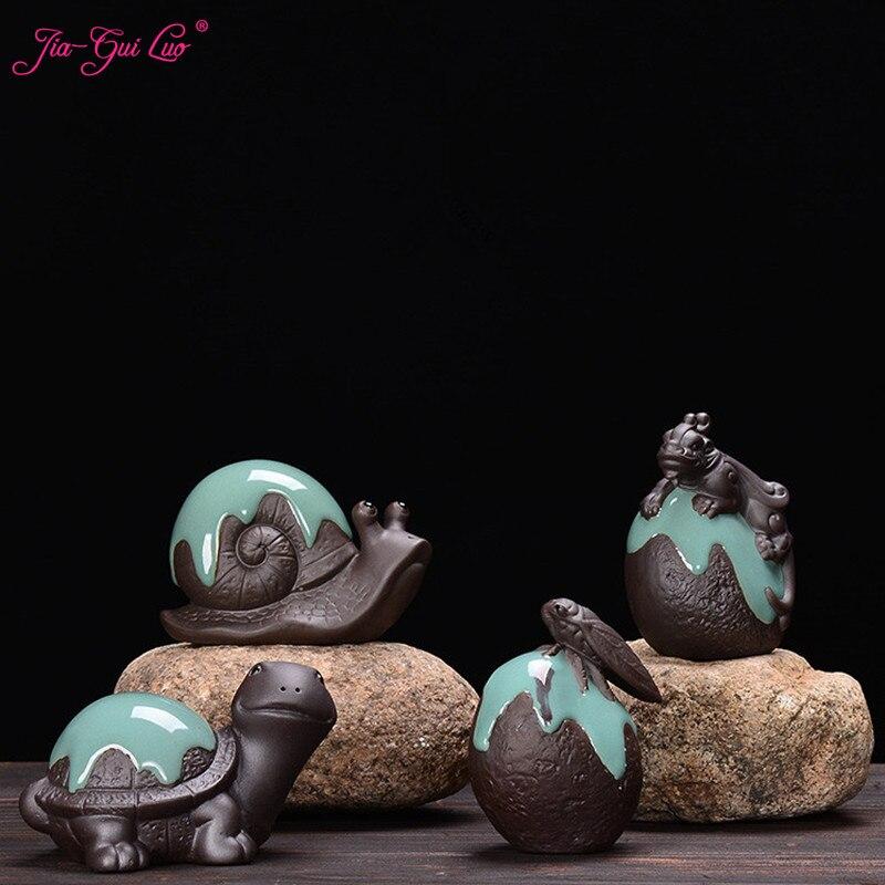 JIA-GUI LUO Purple Clay Snails Turtle Cicada Brave Troops Kung Fu Tea Set  Tea Pet Decorations Tea Ceremony Snails N014