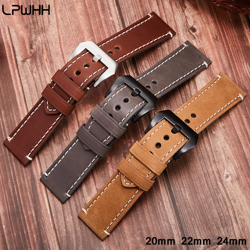 LPWHH Real Genuine Leather Watchband Watch Strap Accessories 24mm 22mm 20mm Pin Buckle Breathable Black Coffee Khaki Bands