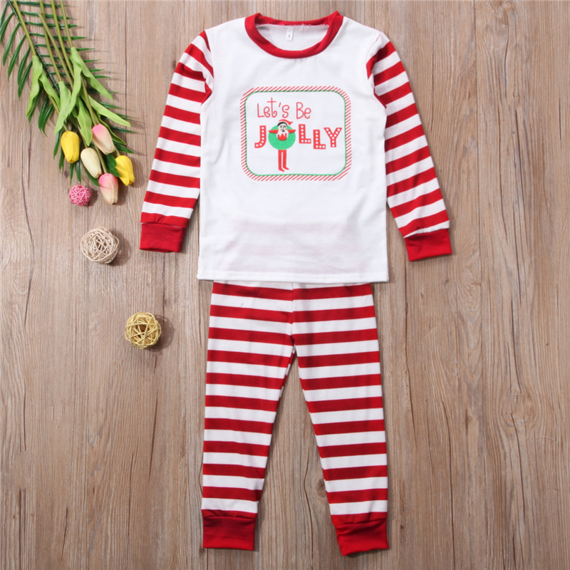Xmas Family Matching Sleepwear Nightwear Mom Dad Kids Christmas Pajamas PJs  Set Family Match Top+Stripe Pants New Year s Costume-in Matching Family  Outfits ... 8edef8789