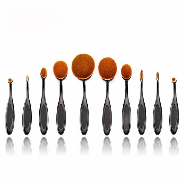 Ouro rosa 10 PCS Escova de Dente Forma Oval Maquiagem Jogo de Escova MULTIUSO Kits de Pincéis de Maquiagem Profissional Fundação Escova do Pó