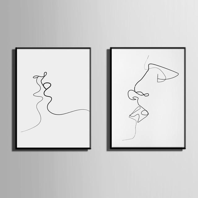 Estilo nórdico arte enmarcado lienzo pintura arte beso de la línea ...