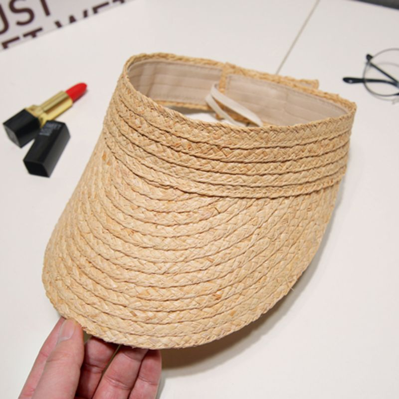 Ladies Summer Handmade Woven Raffia Straw Sun Visor Hat Empty Top Wide Brim UV Protection Adjustable Foldable Peaked Beach Cap