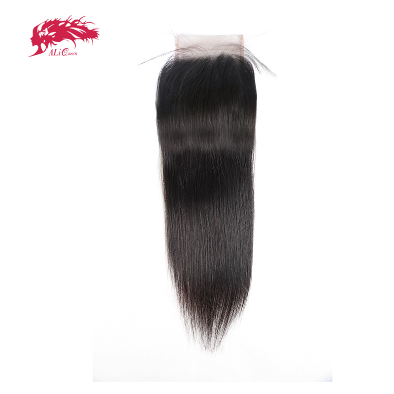 Ali Queen Straight Lace Closure Free Part Human Hair Natural Color Peruvian Virgin Hair Closure With Baby Hair Bleached Knots