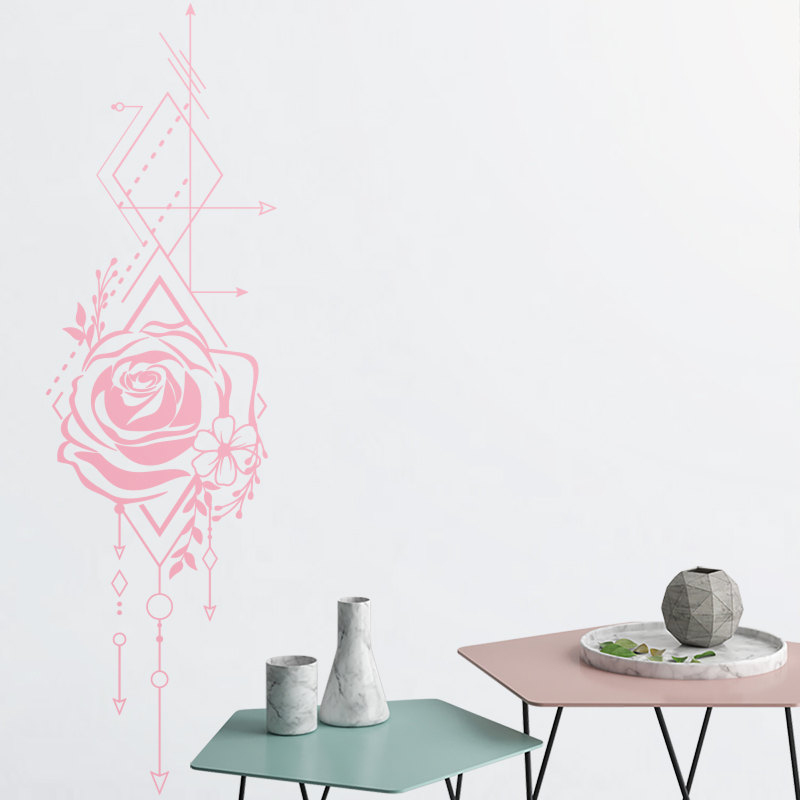 YOYOYU 40 colors Vinyl wall stickers for kid room Geometric Rose Removeable Wall Decal Bedroom Livingroom Wall Decor ZX246 in Wall Stickers from Home Garden
