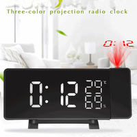 Radio Alarm Clock Digital LED Curved Screen Clock Projector 4 Sounds FM Radio Dual Desk Watch Table Clock with Projection