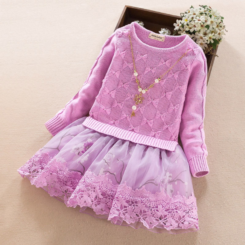 Girls Dresses Winter Spring Kids Warm Knitted Sweaters Dress Long Sleeve Outerwears Baby girl dress O-neck Children Clothes 3-8Y children clothing new winter style knitted thick warm girl dress mesh patchwork o neck cute autumn baby kids girls dresses xl269