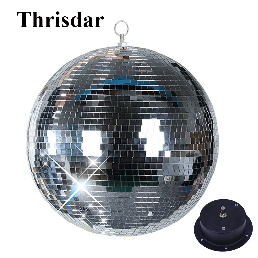 Thrisdar Dia15cm 20cm 25CM Reflective Glass Mirror Disco Ball Light With Motor For Wedding Party Disco Stage Beam Pinspot Lamps