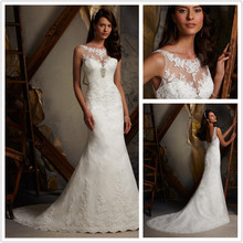Hot sale New Design Lace Wedding Dresses 2015 romantic High Beaded Neck bride Gowns Ivory VESTIDO DE NOIVA 2014 sereia KT-245