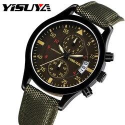 YISUYA znane marki męskie zegarki Nylon prawdziwej skóry zegarek na rękę męskie chronograf z datownikiem armii zegarek wojskowy erkek kol saati
