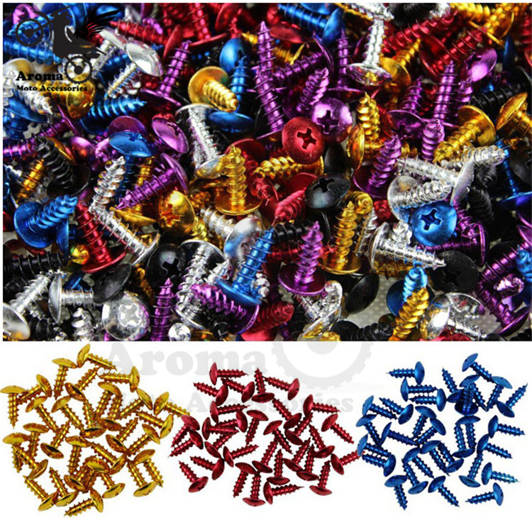 30pcs Modified screws refires motorbike multicolour screws moto Ornamental Mouldings motocross Accessories motorcycle tip screw