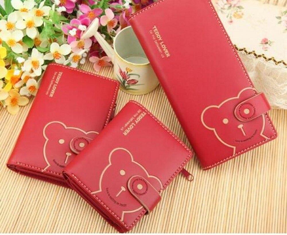 New arrival TEDDY BEAR leather long short brand design women female wallets purses bolsos mujer sac a main 40