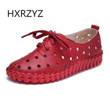 HXRZYZ Spring and summer new genuine leather shoes women hollow female Lace genuine leather flats women shoes casual shoes women