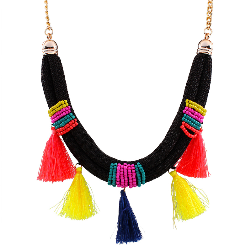 2017 New Arrival Ethnic Style Multicolor Tassel Braided Rope Alloy Seed Beads Necklace For Women Jewelry Party Gift mujer bijoux