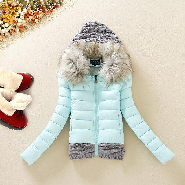 UK New Winter Jacket Women Down Cotton Padded Short Big Fur Collar Hooded Coat