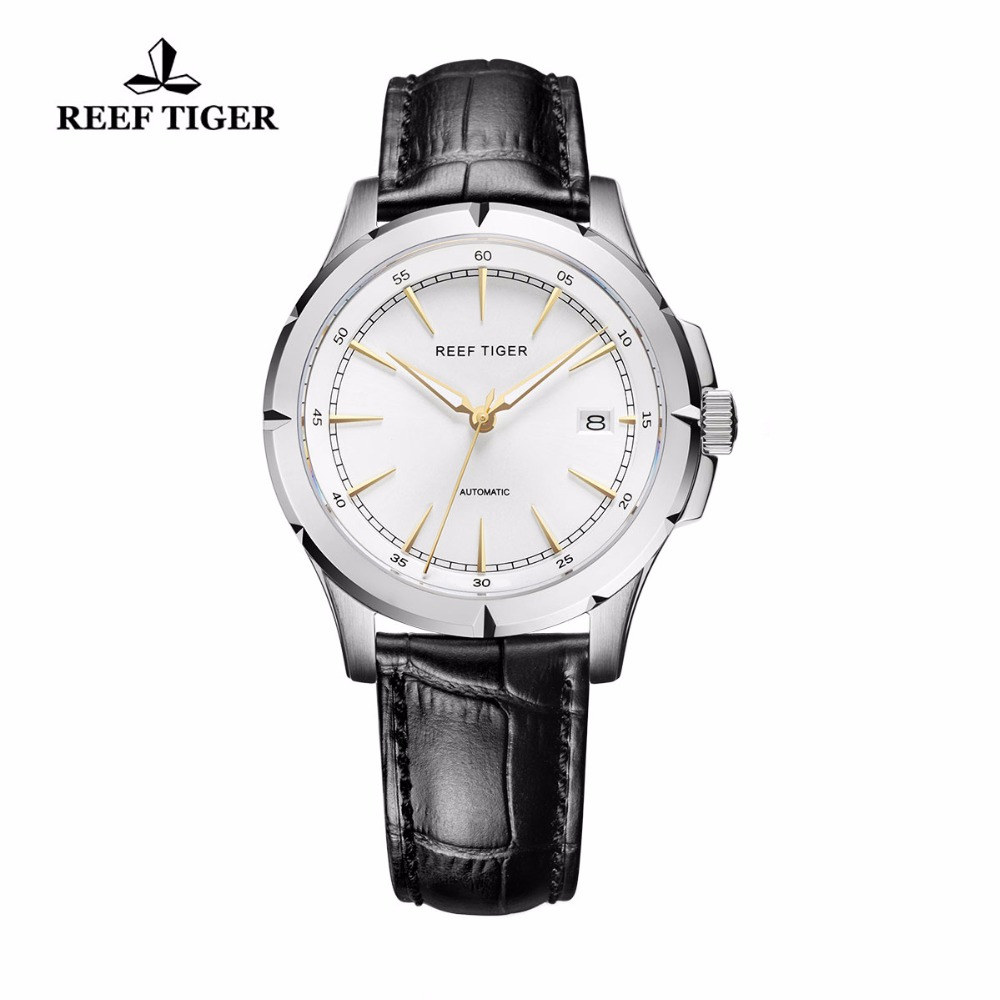 2017 New Arrival Reef Tiger/RT Watches Brand Automatic Date Watch Men Steel Case Leather Strap Business Luminous Watches RGA819 reef tiger rt business casual watches with date self winding watches for men steel case rose gold bezel leather strap rga818