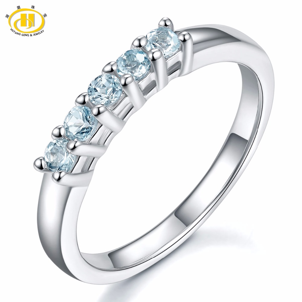 Hutang Trouwringen Five Stone Natural Aquamarine Solid 925 Sterling - Fijne sieraden