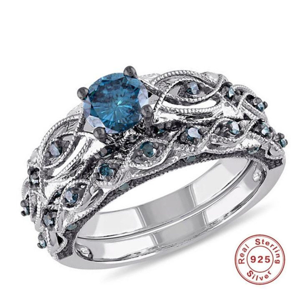 2019 YKNRBPH Stunning Bezel Setting S925 Sterling Engagement Ring Blue Girls's Diamond Superb Jewellery Quick Transport high-quality jewellery, diamond jewellery, jewellery diamond rings,Low-cost high-quality jewellery,Excessive High quality diamond jewellery,...