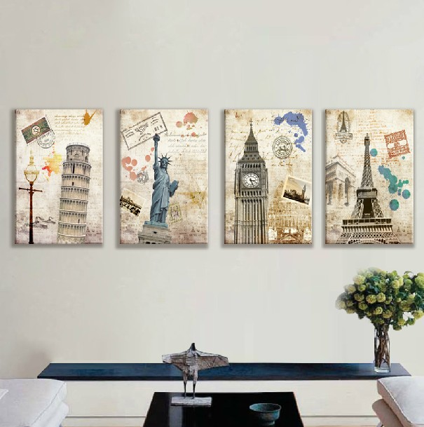 Aliexpress Com Buy 4 Piece Artwork Wall Oil Painting Prints On Canvas Famous European Landscape Pictures Home Decor Unframed New Cuadros Decoracion From