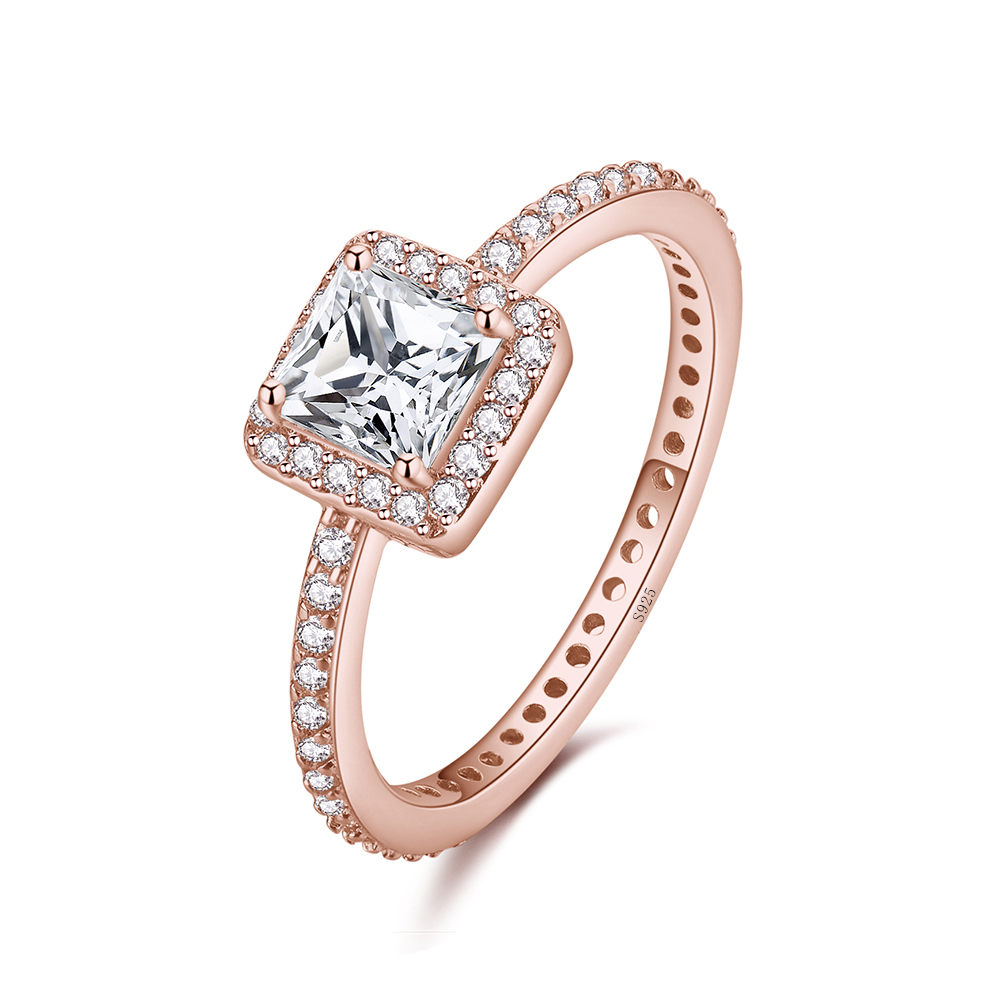 Big Stone Pink Enamel Classical Round Ring 925 Sterling Silver Finger Ring For Women Jewelry in Wedding Bands from Jewelry Accessories