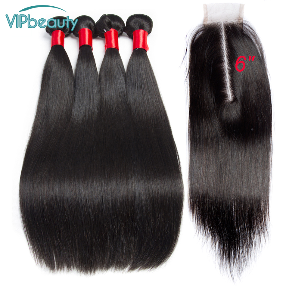 VIP beauty Peruvian Straight Remy Hair Bundles with Closure Natural Black Hair with 2x6 Lace Closure