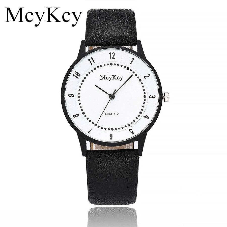 Reloj 2018Newest High quality Mcykcy Women quartz watch Black Leather Straps Black white Dial Sport Digital Watch Hot Sale Chasy