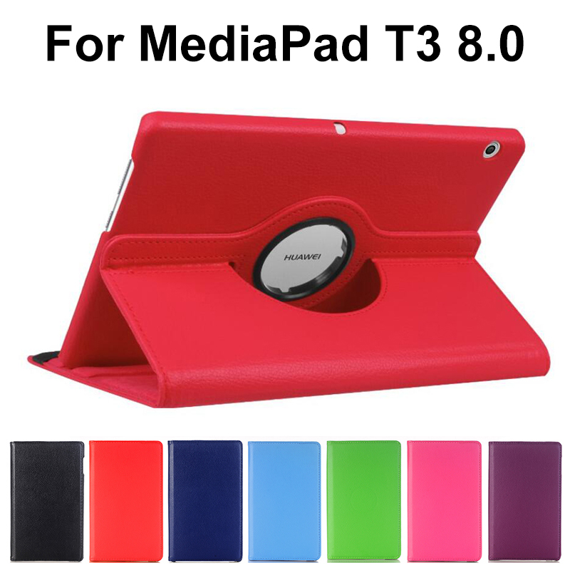 360 Degree Rotating Case For Huawei Mediapad T3 8.0 KOB-L09 KOB-W09 Pu Leather Stand Smart Cover For Honor Play Pad 2 8.0 Inch