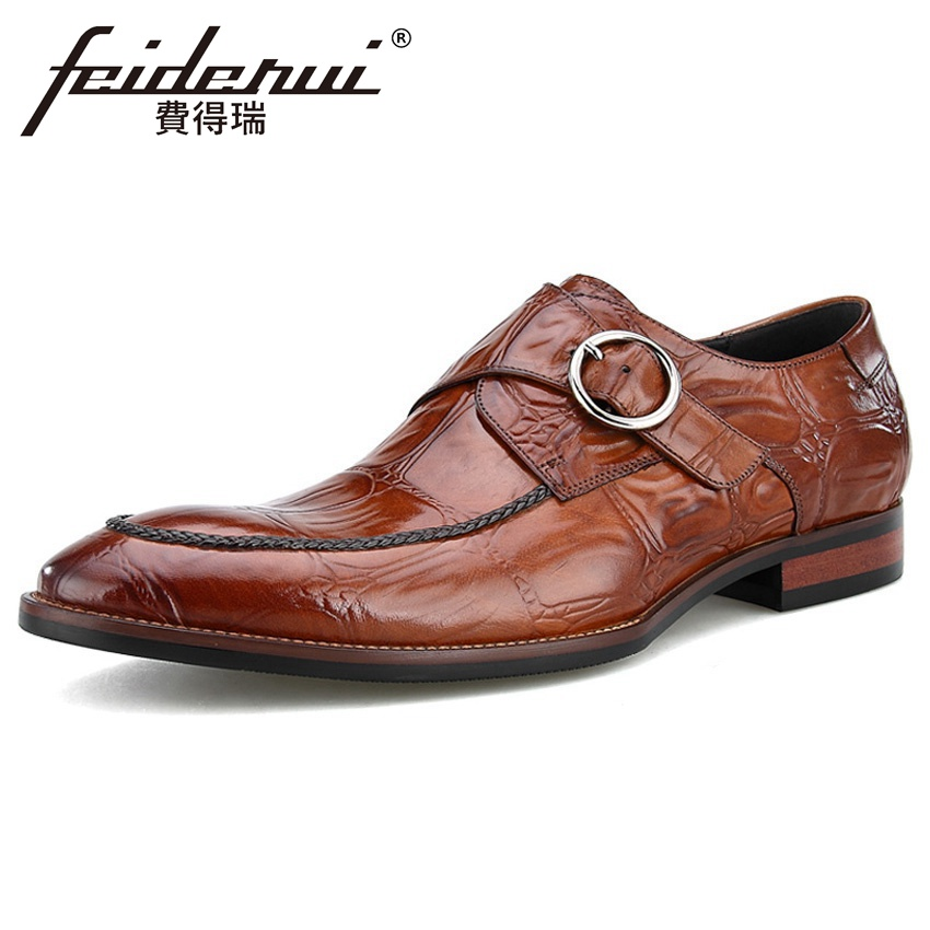 2018 New Vintage Genuine Leather Men's Monk Strap Footwear Luxury Round Toe Handmade Man Formal Dress Wedding Party Shoes BQL116 luxury snake pattern patent leather men s monk strap formal dress footwear round toe handmade male casual shoes for man ymx411