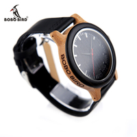 New 2017 Luxury Brand BoBo Bird Watch Men Women Bamboo Watches Black Leather Strap Quartz Wristwatches
