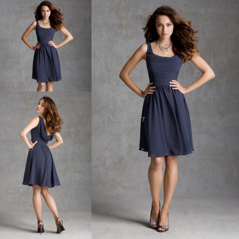 Aliexpress.com : Buy Short Navy Blue Bridesmaid Dress Knee Length ...