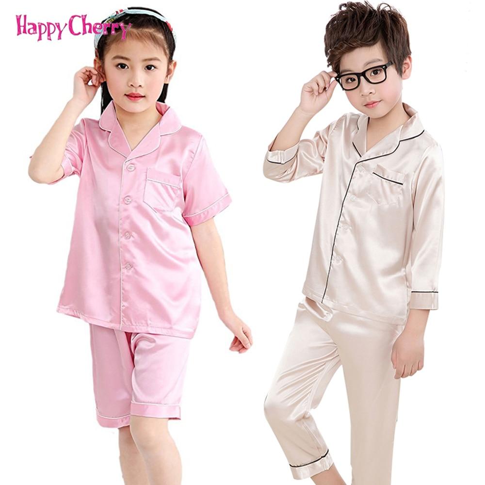 Infant Satin Pajamas Sets For Girls Boy Casual Silk Sleepwear 2-12 Years Children Pajamas Short Sleeve Tops Pants Nightwear Sets