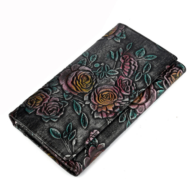 Real Genuine Leather Women Long Wallet Pocket ID/Credit Card Holder Cowhide Female Coin Clutch Money Bag Vintage Embossed Purse