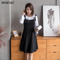 MUSENDA Plus Size Women Classic White Black Patchwork Ruffles Bow Dress New Spring Autumn Female Ladies Elegant Casual Dresses