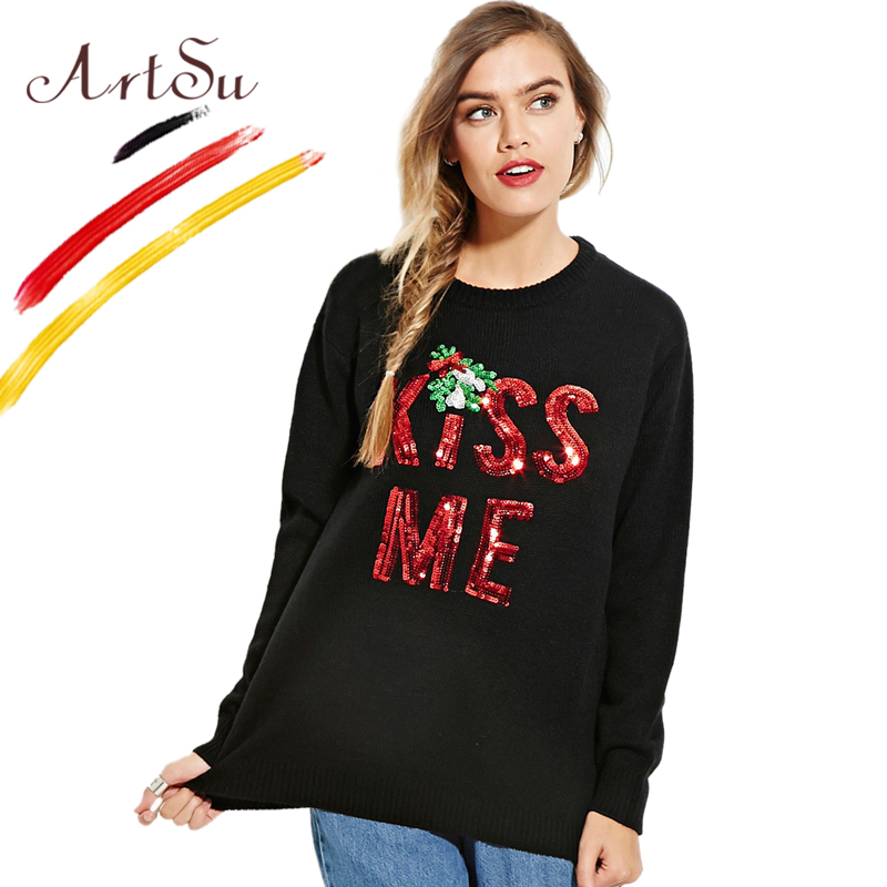 ArtSu Christmas Women Sweater Pullover Winter Kiss Me Sequins Embroidery Black Knitted Top Casual Jumper Pull Femme ASSW20110