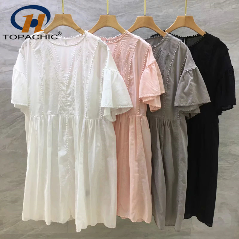 5.4 2019 Summer The new fashion Casual dress female 100%Cotton Loose Solid Embroidery Flare Sleeve O-Neck dress