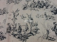 Cotton Linen 150cm Wide Tolie Fabric French Style Life Printed Two Colors For Cushion Bag Table
