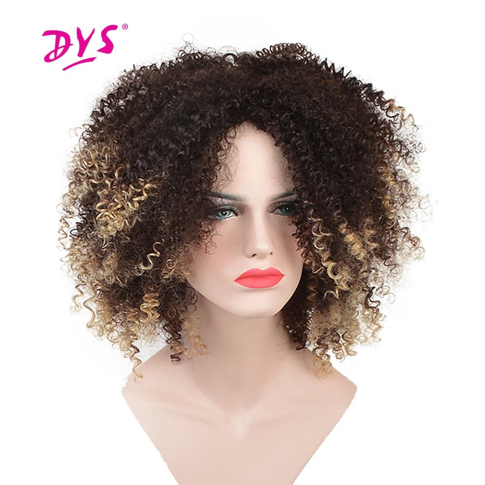 Deyngs Short Kinky Curly Afro Paryk För Svart Kvinnor Syntetisk Hår - Syntetiskt hår