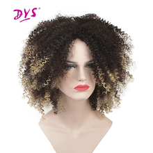 Deyngs Short Kinky Curly Afro Wigs For Black Women Synthetic Hair Natural Brown/Orange/Blonde Color Ombre Pixie Cut Hairpiece
