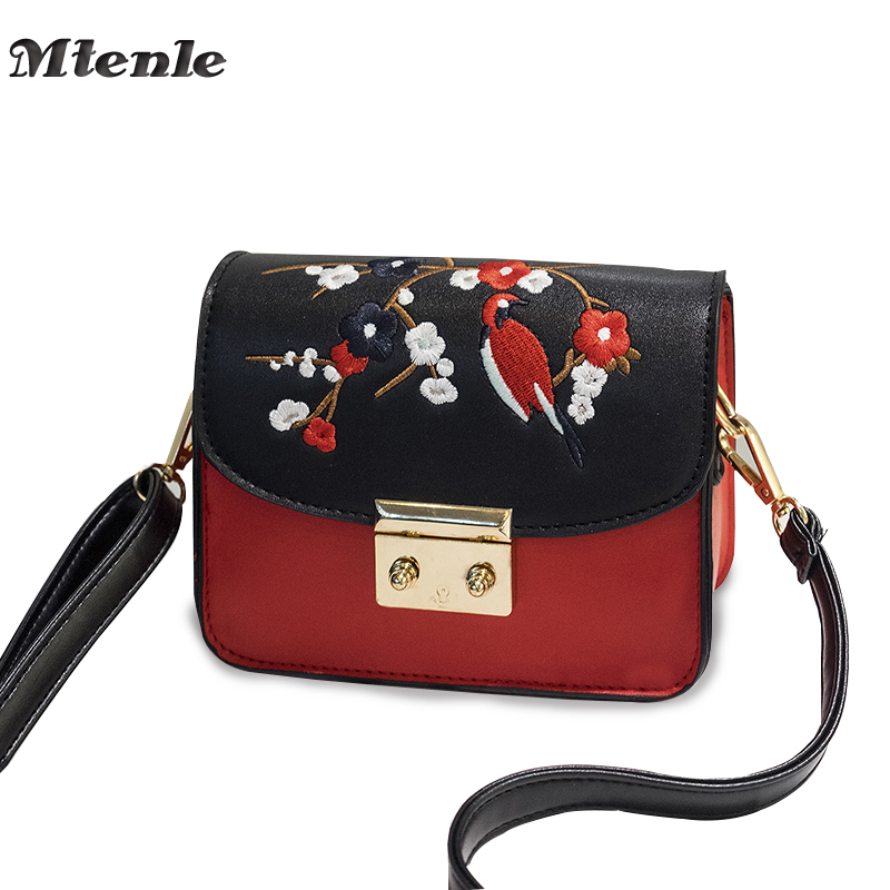 MTENLE Shoulder Women Bag Female Flower Embroidery Ladies Small Bags Women Leather Messenger Crossbody Bag Brands Designer FI все цены