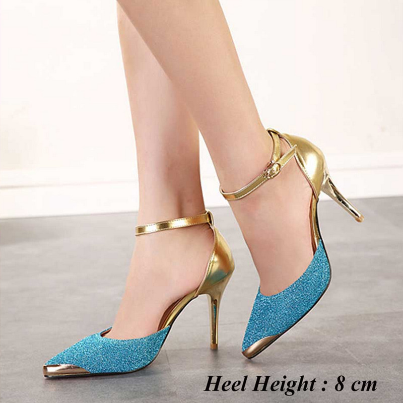 New Elegant Women Wedding Party High Heel Pumps Gold Blue Glitter Pointed Toe Women Shoes Spring