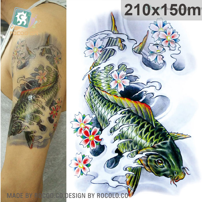 21x15cm 3d Large Big Tatoo Sticker Sketch Green Fish Drawing Designs Cool Temporary Tattoo Stickers High