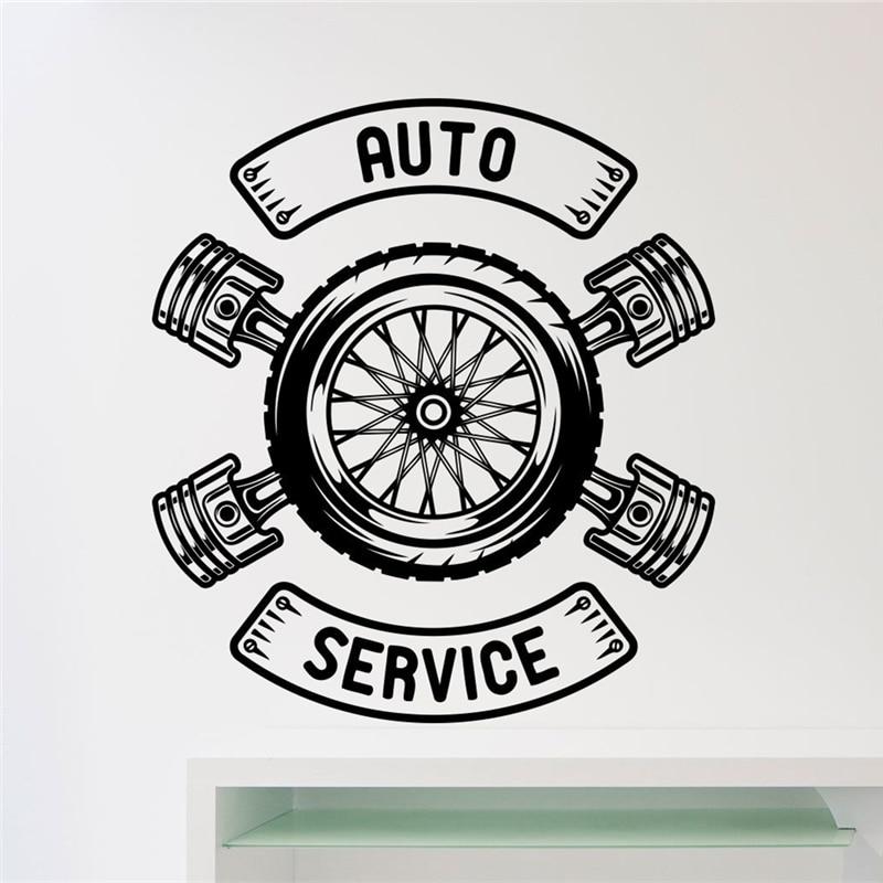 Car Repair Auto Service Wall Sticker Car Workshop Garage Wrench Vinyl Sticker Home Decor Room Interior