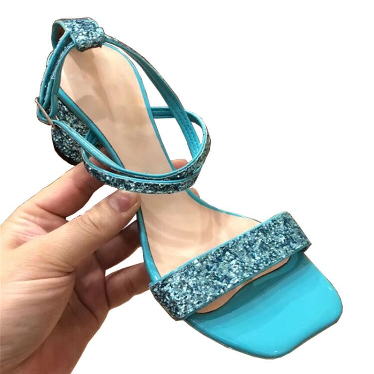 Sequined sandals women crossover buckle strap summer shoes sexy bing bing crystal chunky high heel gladiator
