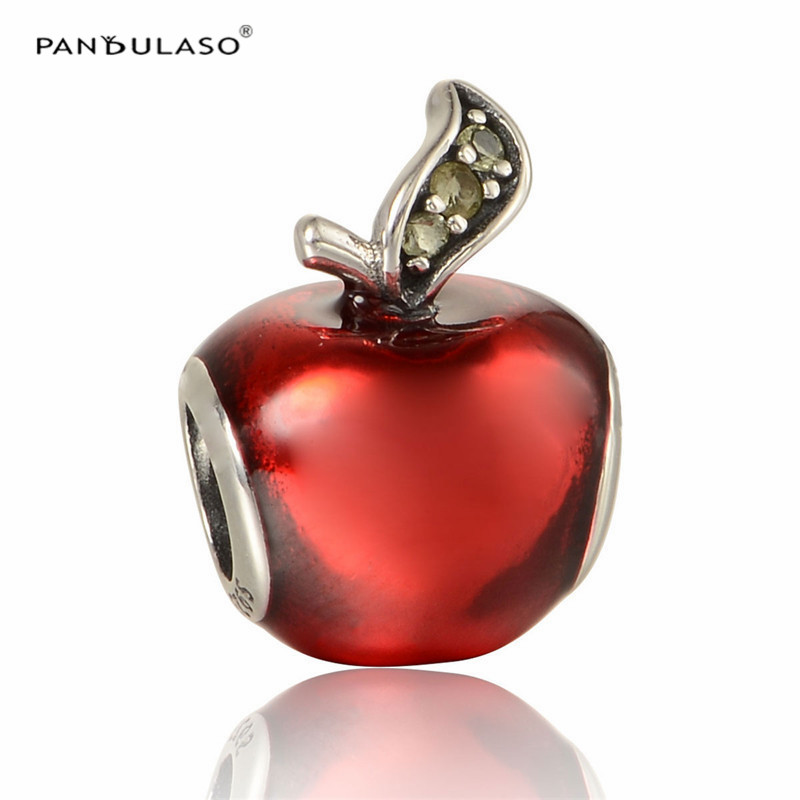 100% 925 Sterling Silver Jewelry Charms Beads Fit Original Silver Charm Bracelet & Choker Red Apple Bead Women DIY Jewelry strollgirl car keys 100% sterling silver charm beads fit pandora charms silver 925 original bracelet pendant diy jewelry making