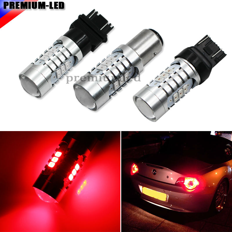 iJDM Brilliant Red Strobe Flashing W21/5W 7443 7444 T20 1157 BA15D 3157 T25 SRCK LED Replacement Bulbs For Car Brake/Tail Lights