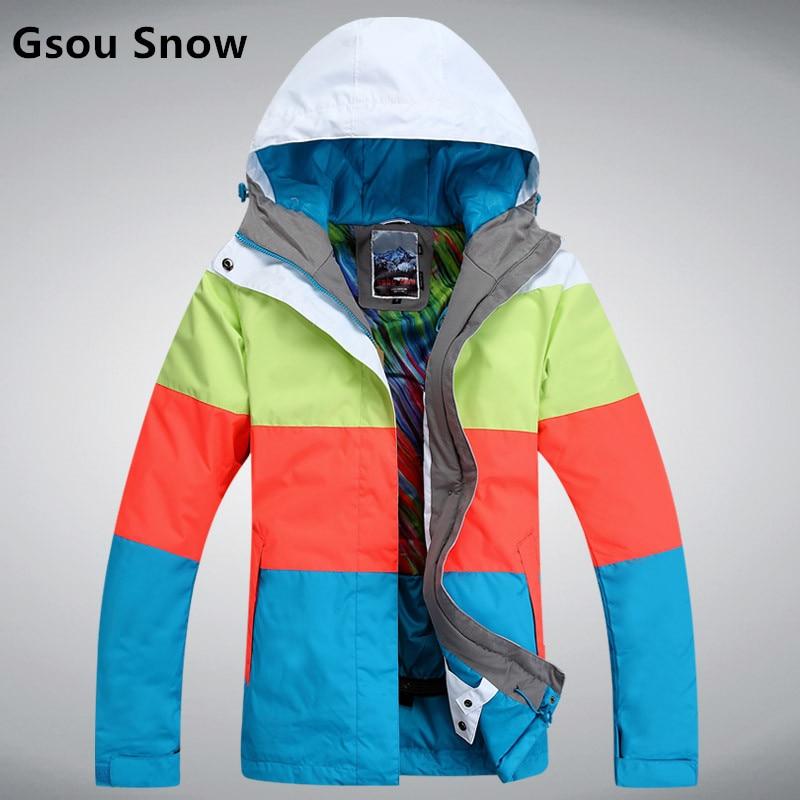 Gsou Snow waterproof sportswear women clothing, winter ski wear hoodie jacket