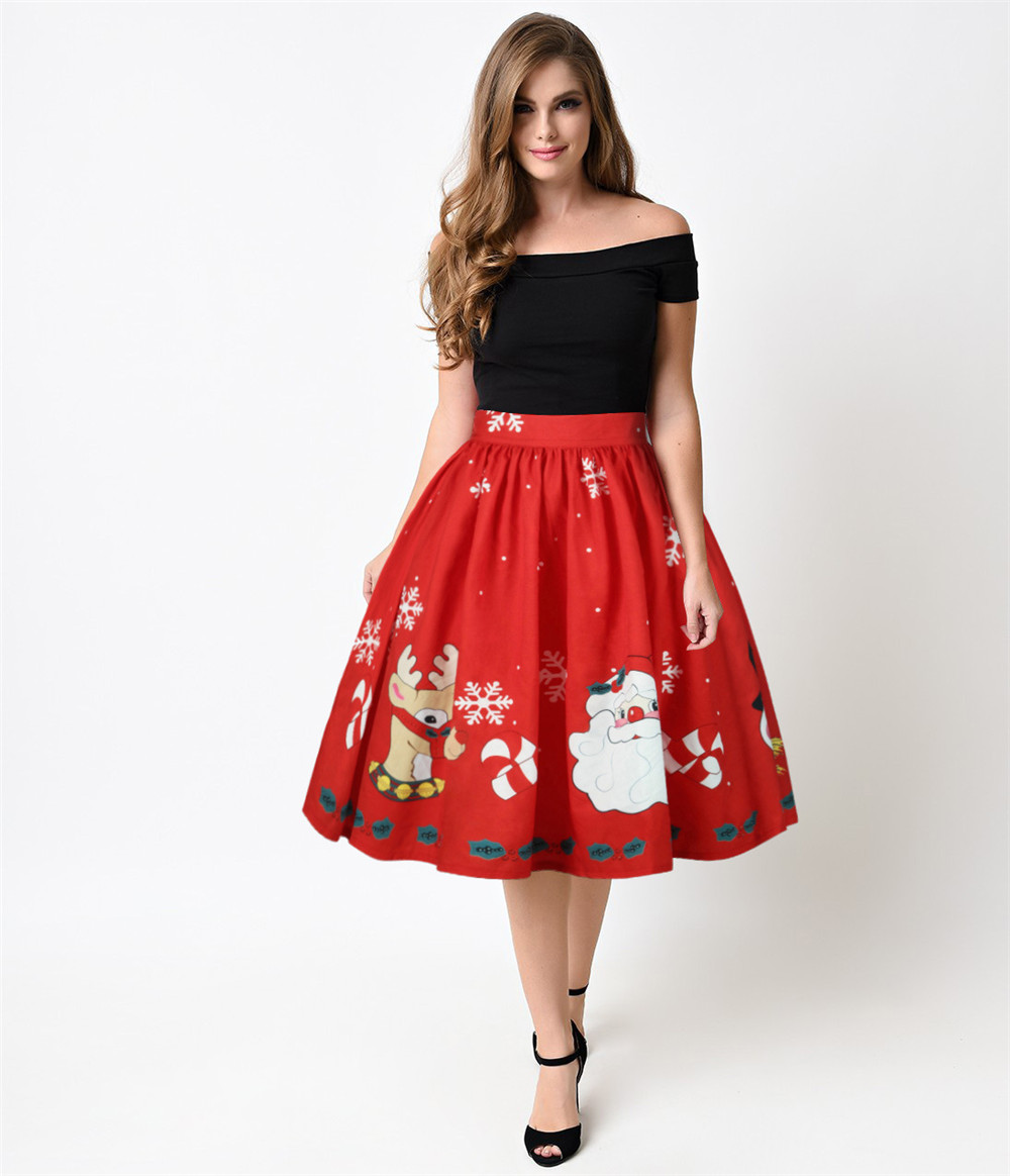 New Ladies Plus Size Skirt Retro Santa Print Christmas Halloween Party Prom Costume Swing Dress Party Cosplay Costume