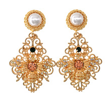 Luxury Design Lovely Gold Color Cute Crystal Rhinestones Bee Pearl Big Earrings Girl Gift Fashion Jewelry Accessories