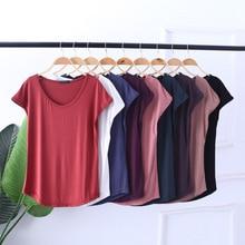 Quality Solid Color Women Soft Cotton Thin T-Shirt Plus Size Top Tee Shirt Female Slim Fit Summer Short T Ladies Tshirt