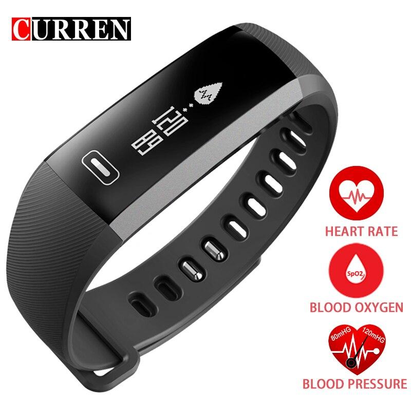 CURREN Originale R5 Intelligente polso Banda Heart rate Pressione Sanguigna Ossigeno Ossimetro di Sport Della Vigilanza Del Braccialetto intelligente Per iOS Android